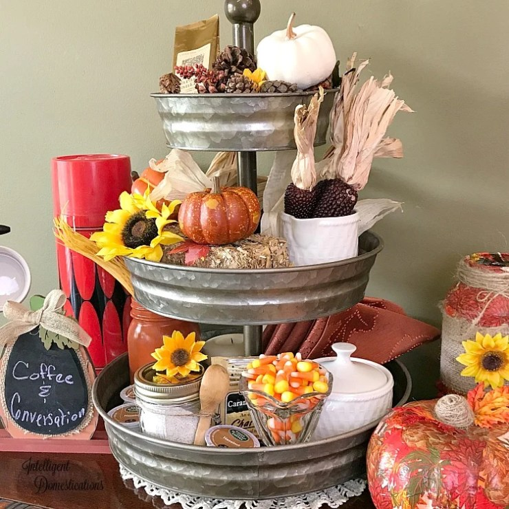 Three tierd galvanized tray decorated with Fall coffee bar decor in traditional fall colors