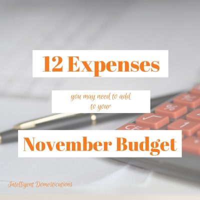 12 Things You May Need to Add To Your November Budget