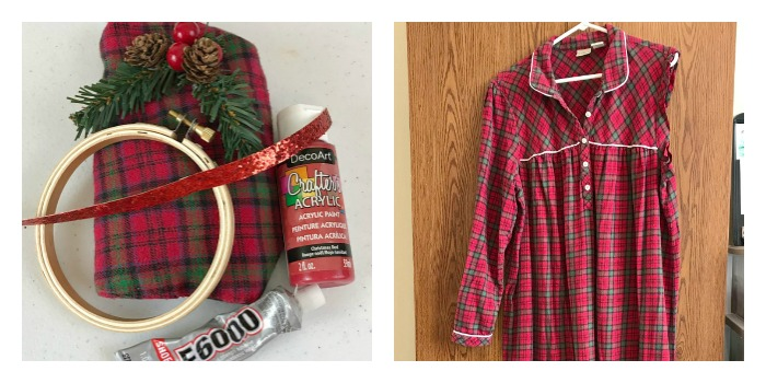 Make your own Red Plaid Embroidery Hoop Ornament. Plaid thrifted gown upcycle. DIY Plaid Christmas tree ornament