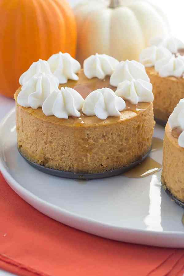 Mini Pumpkin Cheesecake recipe. Featured at Merry Monday Link Up Party #179