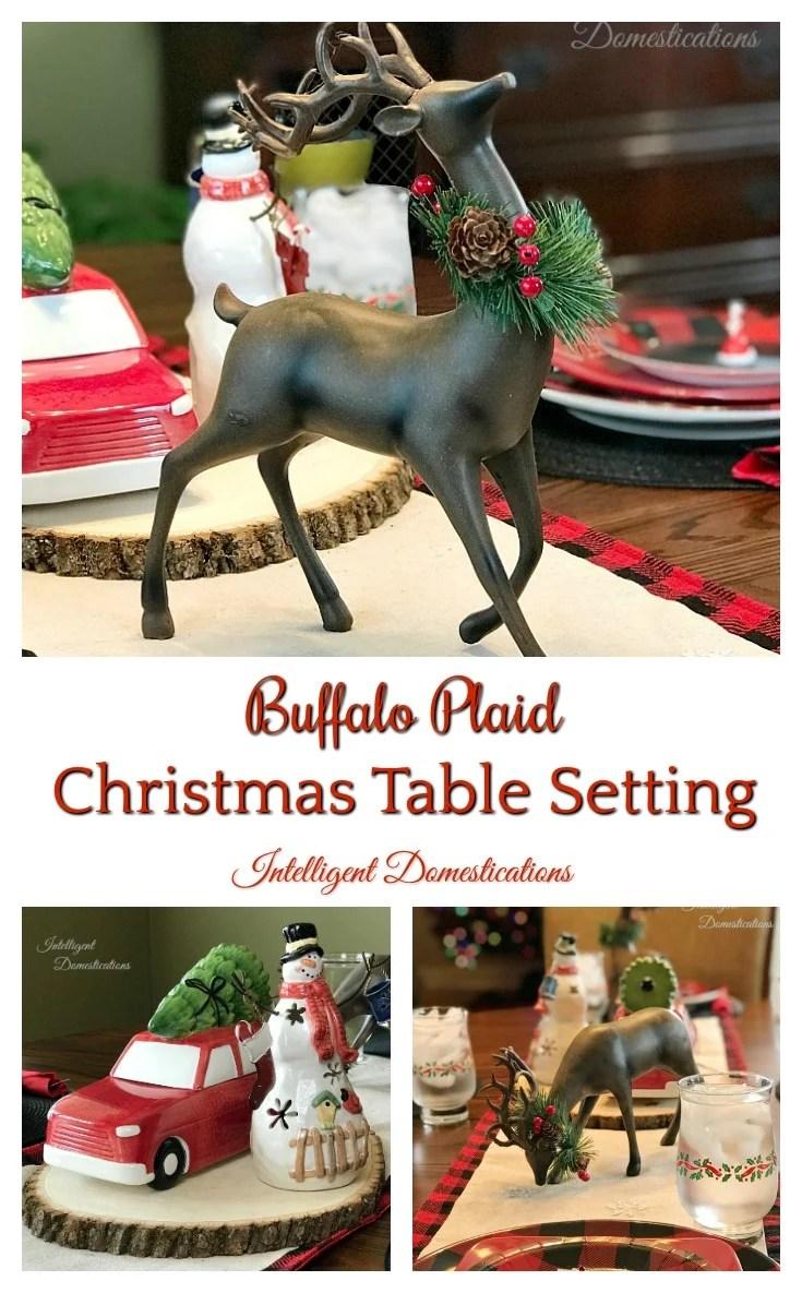 Buffalo Plaid Christmas Table setting. Buffalo plaid tablescape for Christmas