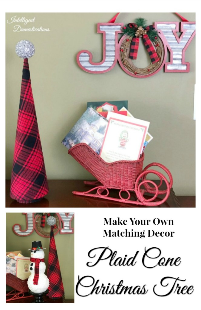How To Easily Make Your Own Plaid Cone Christmas Tree. Buffalo Plaid Cone Tree. How to make a cone tree.