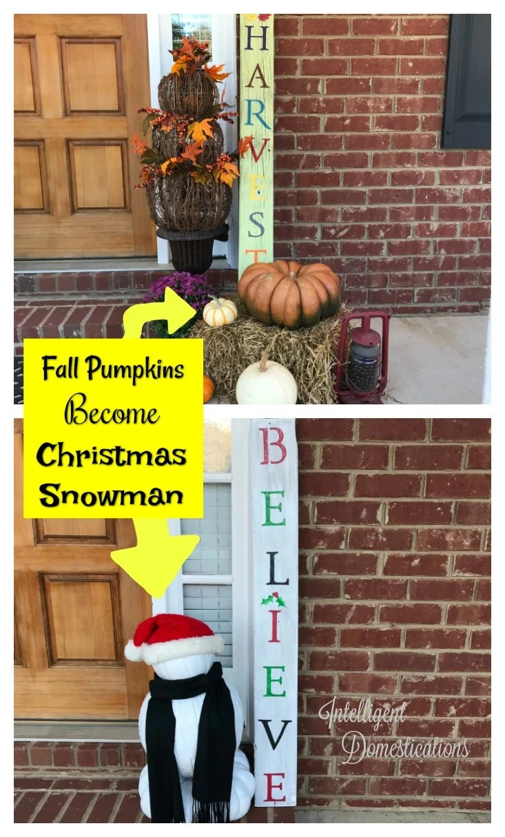 How To Make A Pumpkin Snowman. How to repurpose your fall pumpkins into Christmas decor.