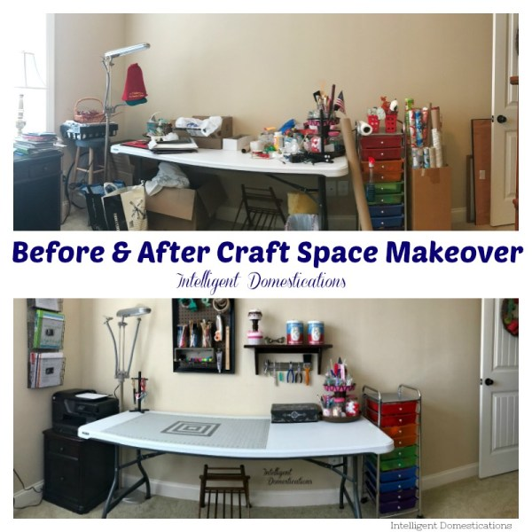 My Craft Space Makeover. Craft space makeover reveal.Before and After Craft space makeover.