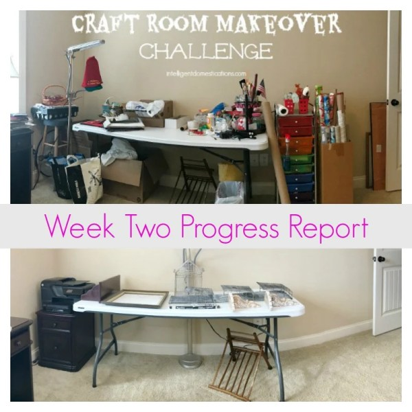 Craft Room Makeover Week Two. Clean work surface. Items to use for organization form shopping my home
