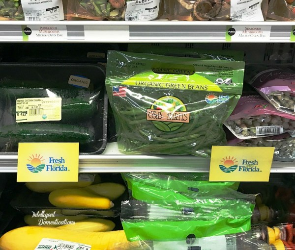 Florida grown produce displayed at the grocery store. Serve your family produce grown locally in the U.S.