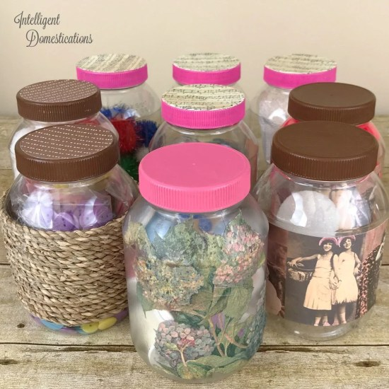 Repurpose mayonnaise jars into pretty craft room supply storage containers. Craft room organization. Repurpose mayonnaise jars. #craftroomorganization