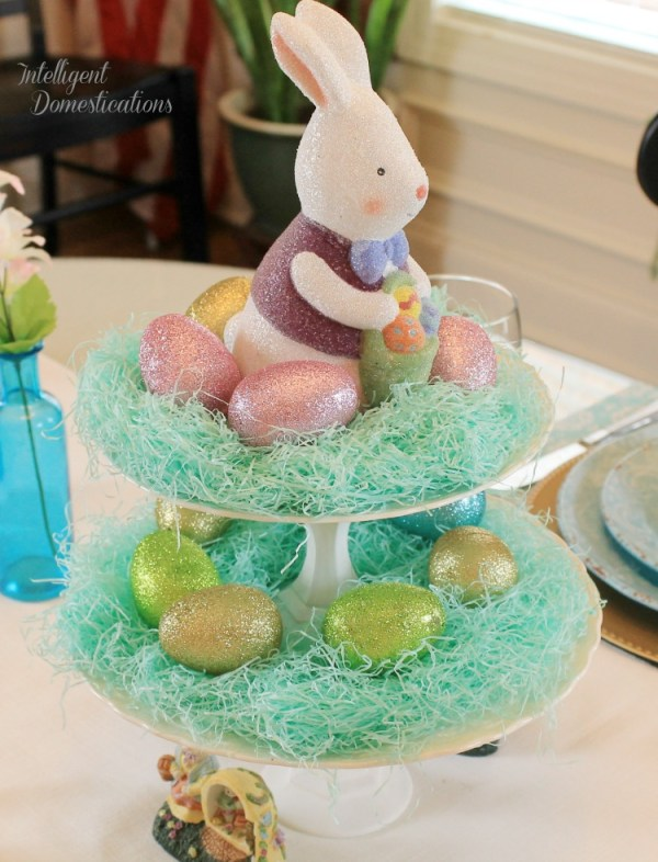Simple Easter Table Decor. Easter Table Decorations. Blue Easter Table setting. Two Tier Plate Stand Easter Egg Decoration