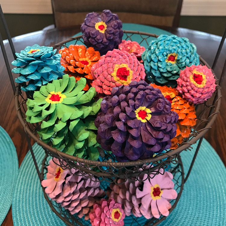 Painted Pine Cones Spring Decor