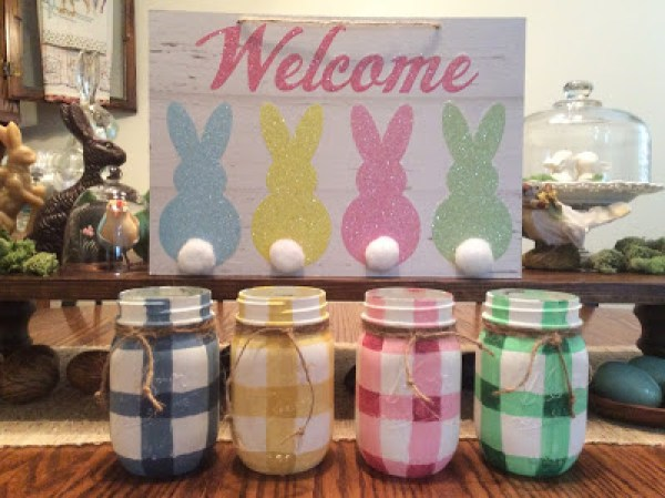 How To paint buffalo check onto Mason jars. Photo of Buffalo check Mason jars