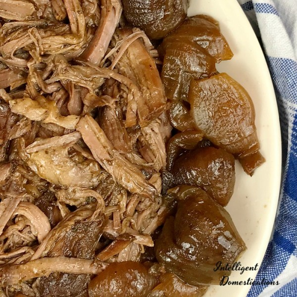 Mississippi Crockpot Roast recipe without the peppers. Not Quite Mississippi Crockpot Roast. How to cook a chuck roast in the Crockpot. Crockpot Roast with Red Pearl Onions. #crockpotdinner #4ingredients #dinnerrecipe