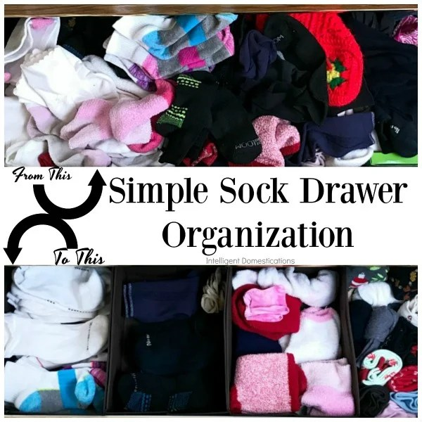 Simple Sock Drawer Organization. How to organize a sock drawer without a lot of work and less than $5. Before and After Sock Drawer Organization. #organization #howtoorganize
