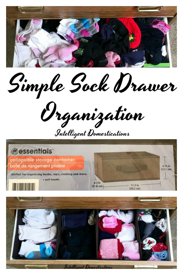 Simple Sock Drawer Organization. How I organized my sock drawer without a lot of work. Uses for collapsible bins in drawer organization. Before and After Sock Drawer Organization
