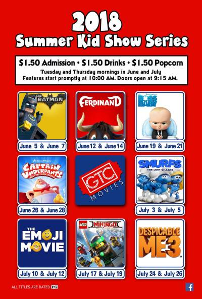 2018 Summer Kid Show Series at GTC Movies