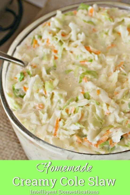 Homemade Creamy Cole Slaw recipe. Great side dish for so many meals no matter the season.