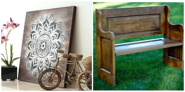 Merry Monday Features. Mother's Day DIY Ideas Day Can Make For Mom. DIY Mandala Wall Art and Old Door Becomes A Bench