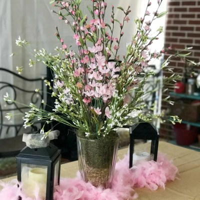 DIY Pink Floral Centerpiece In A Clear Vase