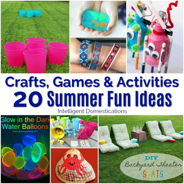 20 Summer Crafts Games and Activities for Summer Fun. Summer Fun Ideas for Kids of all ages. #summerfun #summeractivities