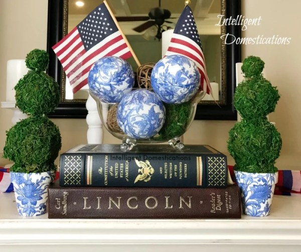 Make your own Blue and White Orbs using napkins, Wiffle balls and decoupage. See how easy it is. DIY Orbs for home decor. How to make your own Orbs for staging bowls and trays. #diy #makeyourown #diyorb #diyblueandwhitedecor #howtostageabowl #homedecor