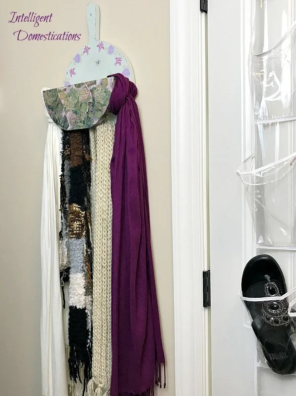 Upcycle a Vintage Wood Paper Plate Holder into a Scarf Holder for closet organization. DIY Closet organizer. DIY Scarf Holder. Repurpose a wood paper plate holder into a pretty scarf holder for your closet. #upcycle #repurpose #vintage #Scarforganizer #closetorganization