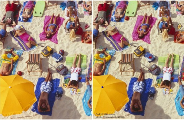 Find 10 Differences between the two images. Beach activity. #findthedifferences #brainteaser