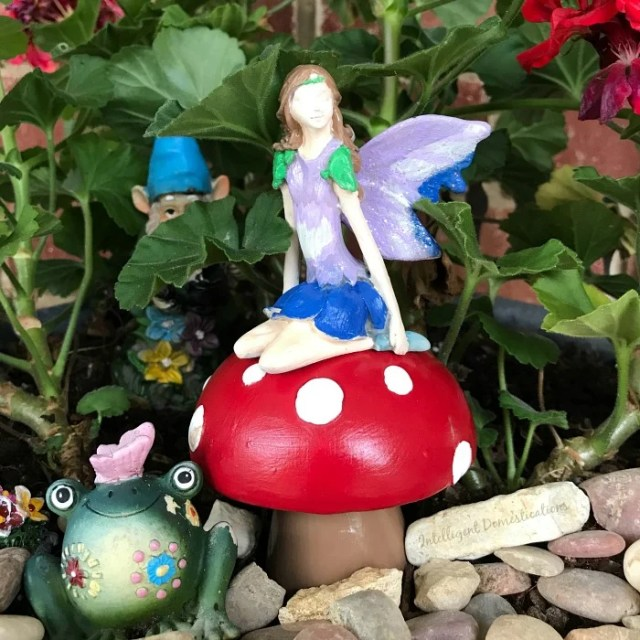 Fairy Garden decorating ideas. How to turn a vintage mushroom salt and pepper set into Fairy Garden Mushrooms. DIY Fairy Garden accessories. Simple ways to make your own oversized Fairy Garden Accessories. #fairygarden #fairygardenmushrooms #fairygardentoadstools