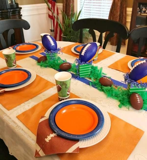 blue and orange football table decor