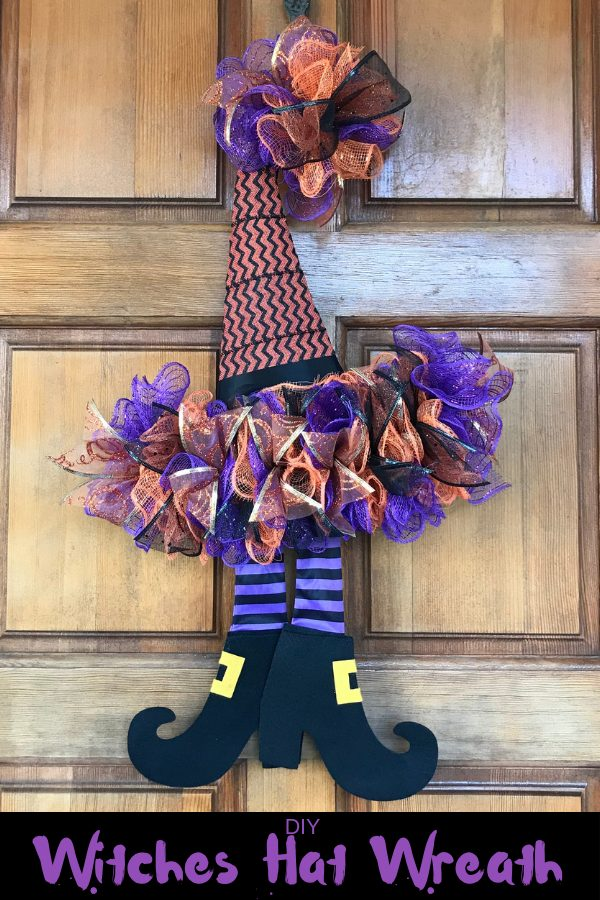 How To DIY A Witches Hat Wreath for Halloween decor. This Halloween wreath is made using Deco Mesh and a witches hat wreath form from the dollar store. This Witch wreath is a dollar store decor project. #halloween #witchhatwreath #halloweenwreath #diy #diywreath #doorhanger #HalloweenDecoMesh