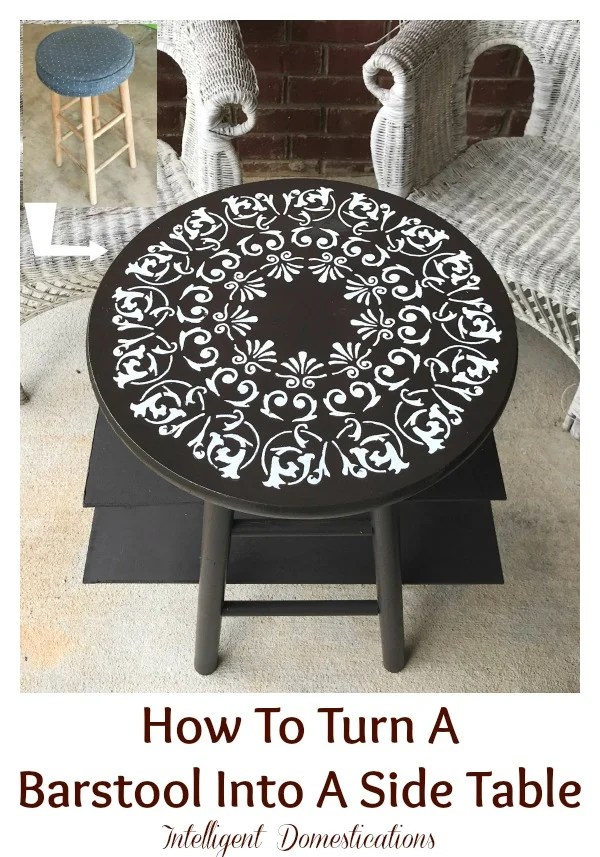 How to turn a bar stool into a side table. Easy wood DIY project using few tools. A Mandela stencil on top add beauty to this easy DIY Furniture project. #diy #woodproject #furnituremakeover #livingroom