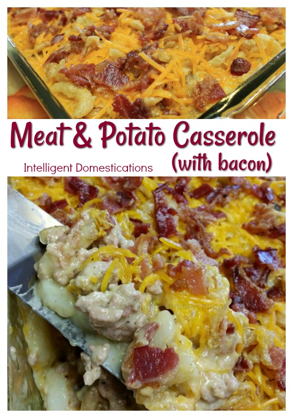 Meat and Potato Casserole aka Ground Beef Casserole or Cowboy Casserole is one of the most versatile casserole recipes you will ever need. We added bacon. You can add almost any veggie to this casserole to suit your family's taste. #casserole #comfortfood #groundbeef #easyrecipe