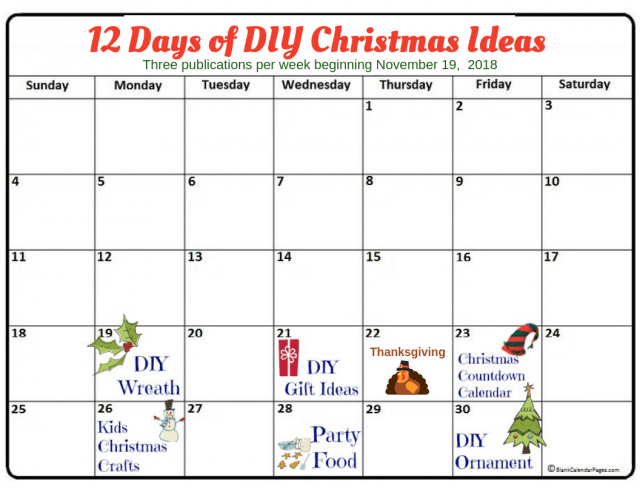 Calendar for free printable 2018 12 Days 640x495 50 Plus DIY Christmas Ideas