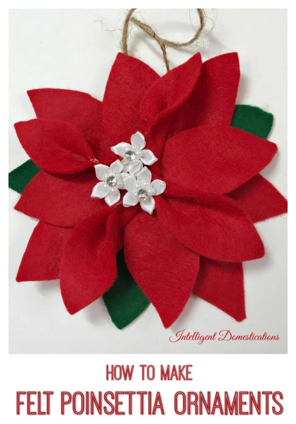 How To Make A Felt Poinsettia Christmas Tree Ornament #feltornament #feltcraft