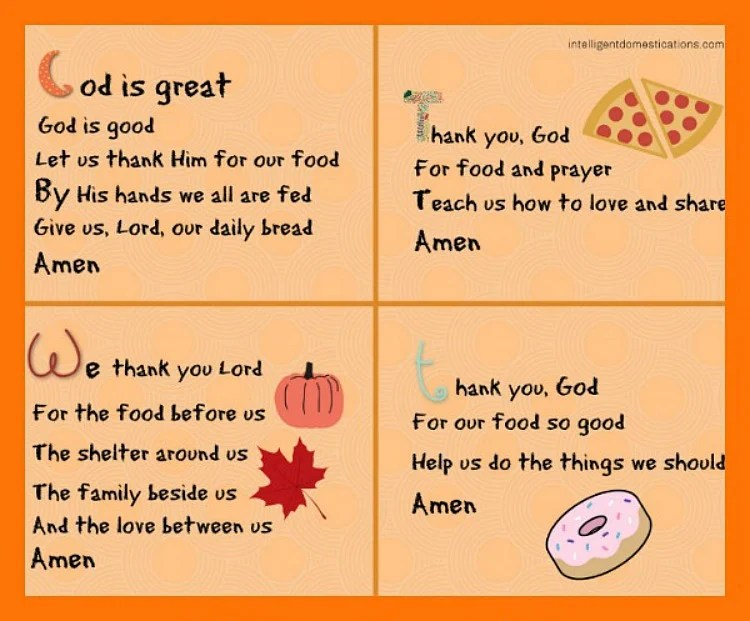 photograph about Prayer Printable titled Quick Mealtime Prayers for Kids Printable - Clever