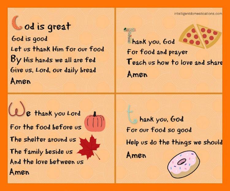Short Mealtime Prayers For Children Printable Intelligent