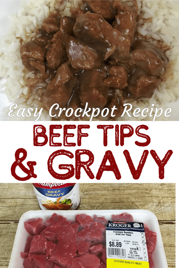 Beef Tips and Gravy on a bed of rice and ingredients for the recipe pictures