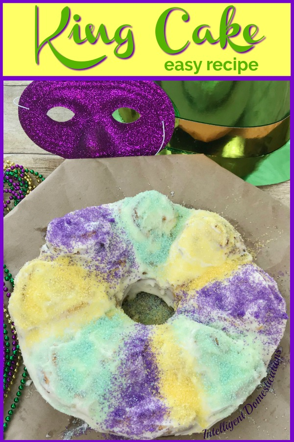 King Cake easy recipe using store bought Cinnamon Rolls and Icing. King Cake is a New Orleans Mardi Gras sweet treat favorite. The recipe is super easy to make and scrumptious. Make more than one because it vanishes quickly. #kingcake #mardigras
