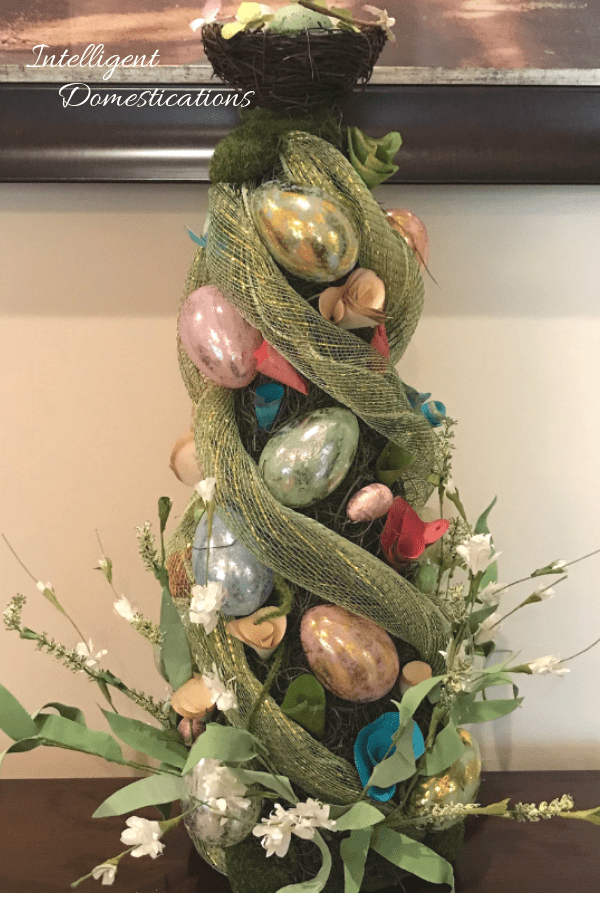 How To Make An Elegant Easter Egg Cone Tree Tabletop Decor. Decorate your Easter Table this year with a gorgeous Easter Tree you created with your own personal touches. Follow our video tutorial for the steps we used. #Easter #DIYdecor
