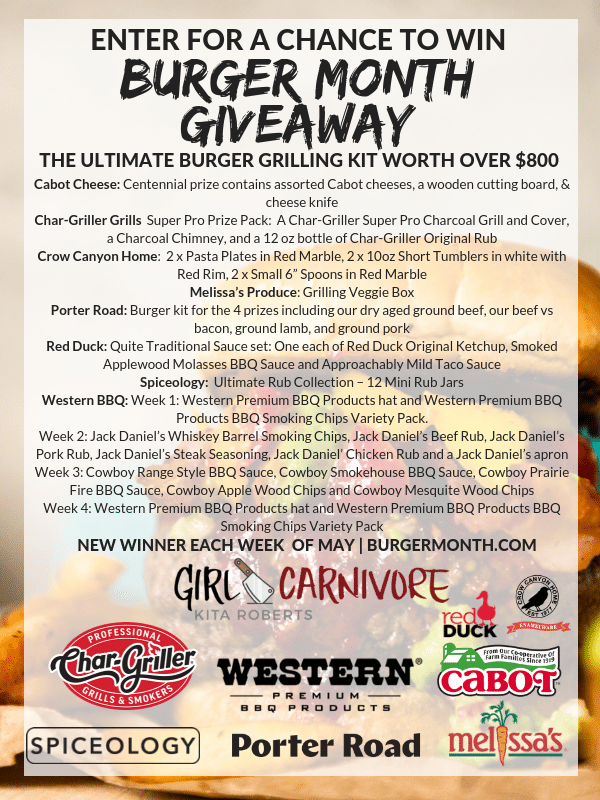Burger Month Giveaway 2019 Sponsors and Prize list #Girlcarnivore #BurgerMonth