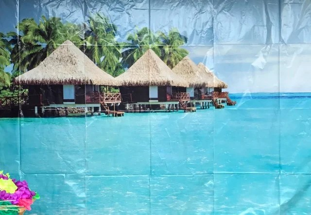 Luau Party photo backdrop of an ocean with grass roof cabanas in the background