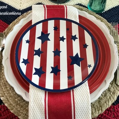 Red White and Blue Tablescape Decor