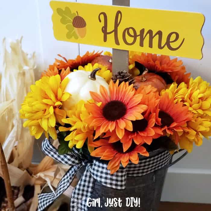 Dollar Store Fall Flower Bucket DIY