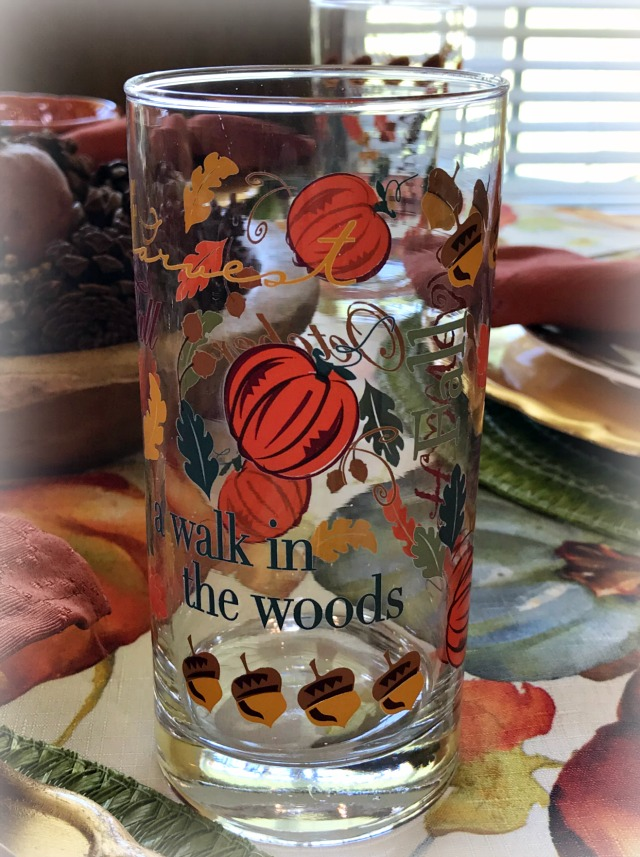 Autumn tea glasses from the grocery store create a fun fall feel for everyday use.