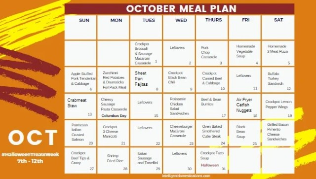 October Meal Plan Calendar with Recipe links included. Download to your desktop and click the links for the recipes all month long.