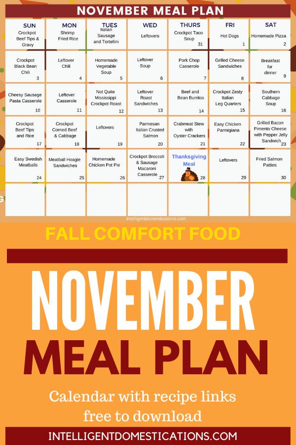November Meal Plan. Comfort food recipes