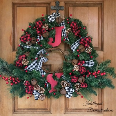 Festive Red Buffalo Plaid Christmas Wreath