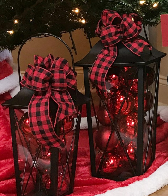 Buffalo Ribbon Bows on black Christmas Lanterns filled with red Christmas glass balls.