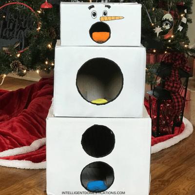 Cheap And Easy Cardboard Box Snowman Bean Bag Toss Game