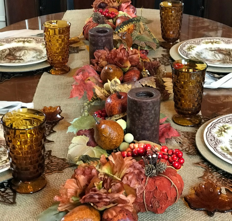 A view of the long faux floral centerpiece on a Thanksgiving Tablescape