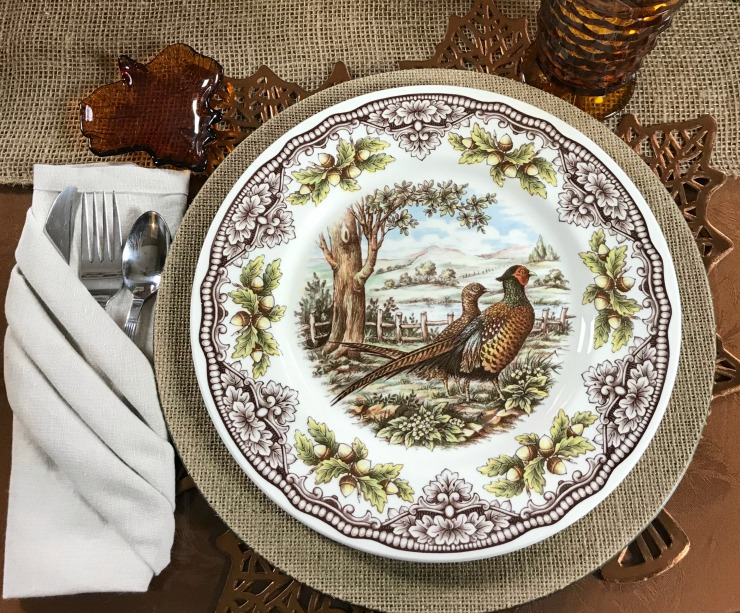 Thanksgiving Table place setting with brown quail design dishes