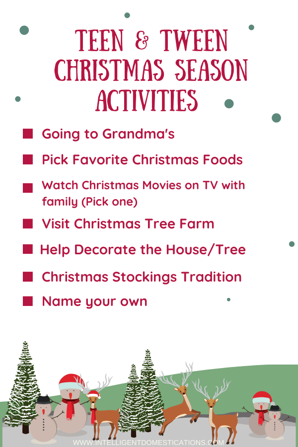 These Tween and Teen Christmas Activities create memories and family traditions.Looking for ways to make Christmas special for your Teens and Tweens? I interviewed my grandchildren and these are the things they enjoy most about the Christmas season. Good news is most are free are nearly free.